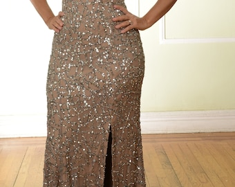 Sequined Gown Prom Dress