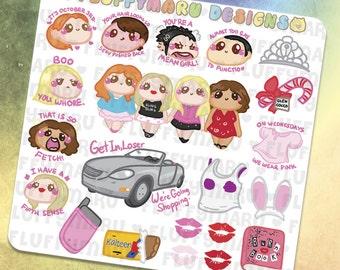 Mean Girls Deco Set || Planner Stickers, Cute Stickers for Erin Condren (ECLP), Filofax, Kikki K, Etc. || DS14