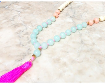 Long Natural Cream and Jade Mint Beaded Necklace - Neon Pink Tassel - Long Tassel Necklace - Boho Jewelry
