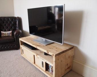 Reclaimed Wood Media Unit With Sliding Doors