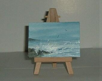 original art aceo atc seascape (ref E212)
