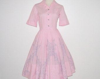 Vintage 1950s Pink Gingham Dress / 50s Gingham Embroidered Dress / 50s Gingham Dress With Blue Embroidered Cross Stitch Star Design - S, M
