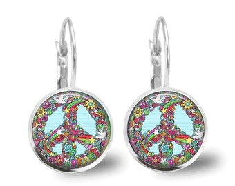 Peace Sign Earrings Tile Earrings Peace Sign Jewelry Tile Jewelry Flower Earrings Flower Jewelry Beaded Jewelry Silver Jewelry Brass Jewelry
