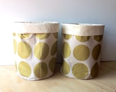 Fabric Storage Basket - Metallic Gold Circles