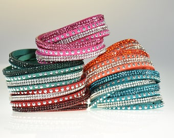 Leather Bracelets for Women Different Colors with Glass Crystals