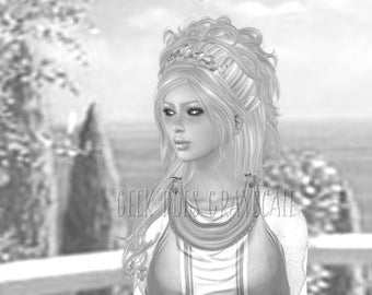 grayscale coloring page grayscale grecian princess adult coloring page digital download