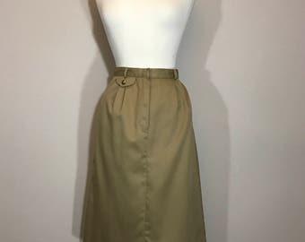 Weathervane Khaki Skirt  Preppy Khaki Cotton skirt Khaki  Knee Skirt  ILGWU Union Label lightweight