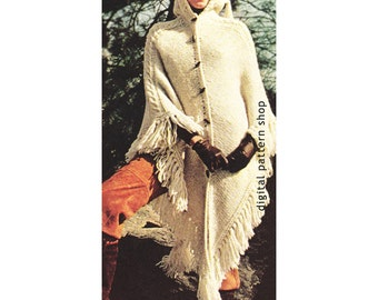 Womens Knit Cape Pattern 1970s Vintage Hooded Cape Poncho Knitting Pattern PDF Instant Download - K42