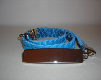 Women Buffalo Blue braided 4 brown leather belt.
