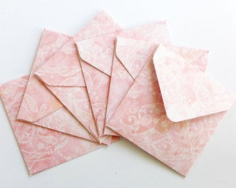 Floral Pink Mini Envelopes, Handmade Envelopes, Square Envelopes, Love Note, Gift Card, Mini Note Cards, Blank Cards