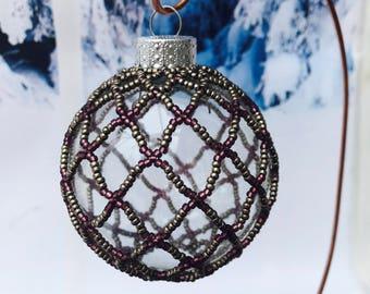 Purple Beaded Christmas decoration; christmas bauble; christmas tree ornament; victorian decoration; handmade ornament; beaded decoration