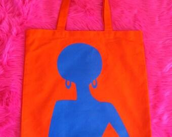Supaflarez DISCOCHICK design 100% cotton canvas tote bag—Orange