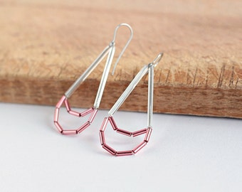 Pink Drop Earrings- Glass Dangle Earrings- Minimalist