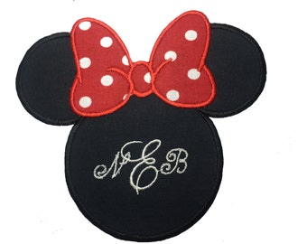 Monogrammed Minnie Mouse Patch, Minnie Mouse With Red Hair Bow Iron On Embroidery Applique Patch, Disney Patch