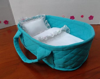 "11"" Doll Carrier Basket Aqua and White With Baby Pastel Lace Trim Sized for Mini La Newborn Dolls"