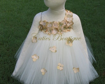 Ivory Dress With Champagne Hydrangea Fower Dress Wedding Dress Picture Prop 6, 12, 18, 24 Month, 2T, 3T,4T 5T  Ivory Flower Girl Tutu Dress