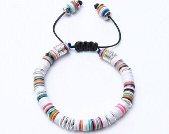 Mens - Womens Bracelet *African Disc WhiteSilver*