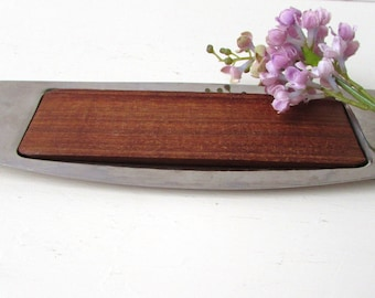 Mid Century Modern Butter Dish - Stainless and WoodWalnut or Teak -  Danish Modern  Stainless Steel  Marked Sweden - Mid Century Butter Dish