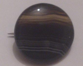 round vintage banded agate brooch