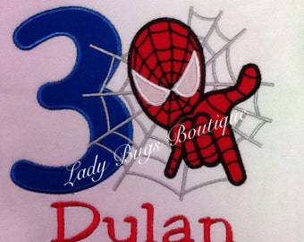Spiderman Birthday Shirt with Number and Name*****Please Read Shop Announcement*****
