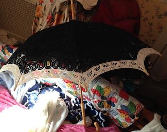 Rare vintage Venetian lace umbrella, black with white trim, parasol bought in VeniceEdwardiancosplayVictorian Japanese lolita harajukugothic