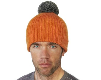 Pom Pom Beanie Chunky Mens Ski Hat Jessie Merino Wool Beanie Mens Womens Knitted Cap Pumpkin Orange Gray Superwash Wool M