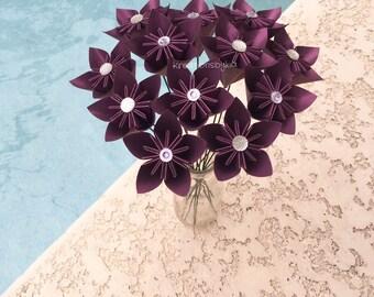 Paper Flowers with Stem // Origami Kusudama Paper Flower Bouquet/ Flower Arrangement/ Centerpiece/ Bridal Bouquet