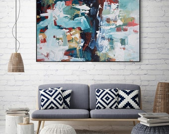 ART Abstract Print Wall Art, Large Wall Art, Blue Abstract poster, Giclee Print Large Abstract Art Print from Painting Modern Abstract