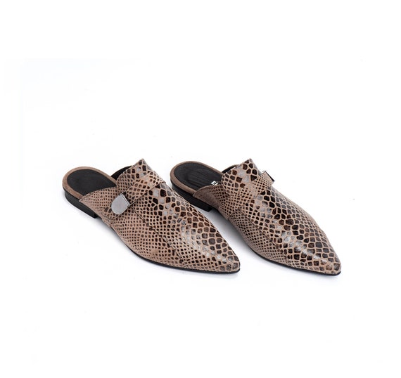 Elegant Shoes Shoes Slip Snakeskin Shoes Pointed Women's Ons Flats Flat Mules Women's Flats Mules Loafer Shoes Leather Shoes Summer wqnISvfT