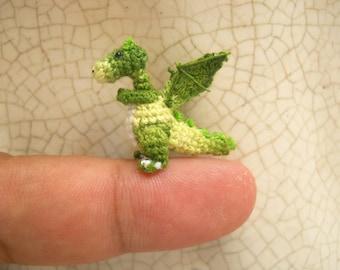 Green Dragon Winged - Tiny Crochet Miniature Dino Stuffed Animals - Made To Order