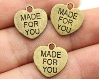 9 Made for You Heart Charms, Antique Bronze Tone (1H-70)