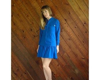 EXTRA 20% OFF SALE.... Esprit Jersey Knit l/s Mini Dress - Vintage 90s - Xs/S