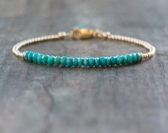 Turquoise Bracelet, Gemstone Bracelet, Mothers Day, Turquoise Jewelry, Gift for Wife, Gift for Her, December Birthstone, Rose Gold Bracelet