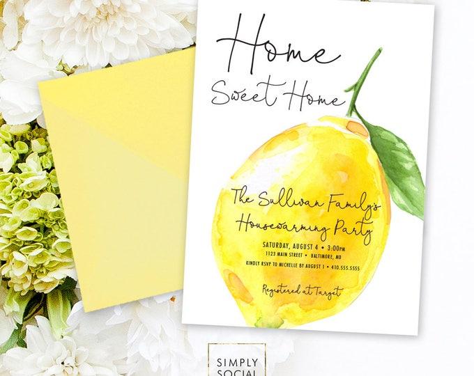 Lemon Housewarming Party Invitation - Fresh Lemon with Black Modern Calligraphy Printable Italian Lemon New Home Mediterranean Party