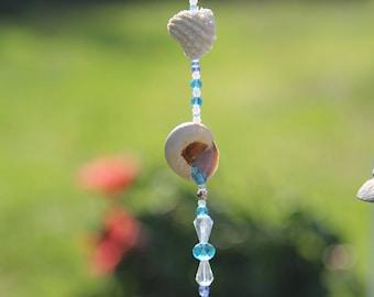 Sea Shells/ Sea shell sun catcher/ Beaded Sun catcher/ Light Catcher/ Window Ornament/ Seashell Light Catcher