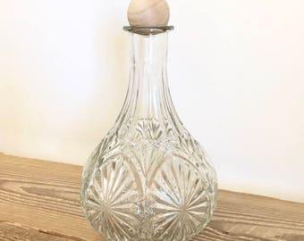 Vintage Round Cut Glass Whiskey Liquor Decanter