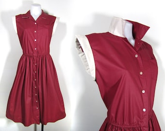 sz M/8 | vintage Sunshine Alley shirtdress / cranberry red dress / burgundy shirtdress / 50s housedress / 70s shirtdress / button up dress