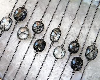 Petite Tourmalinated Quartz Gunmetal Necklace