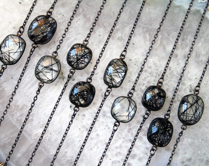 Petite Tourmalinated Quartz Gunmetal Necklace // Minimal Tourmaline Rutilated Quartz Layering Necklace