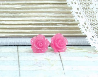 Raspberry Pink Flower Earrings Pink Rose Studs Rose Stud Earrings Hypoallergenic Pink Flower Studs