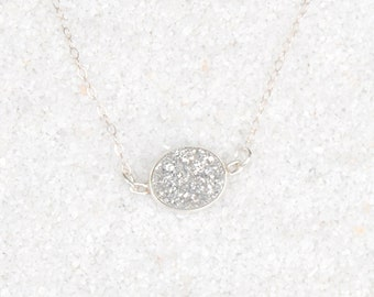 Silver Natural Druzy Necklace on Sterling Silver Chain
