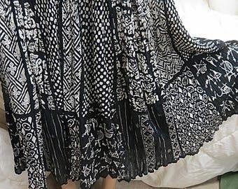 Vintage 1970 Indian cotton gauze Hippie skirt #450
