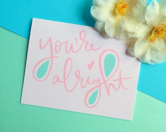 funny valentines day card you're alright valentine card blush pink mint greeting card romantic anniversary card sarcastic valentines cards