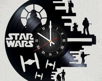 STAR WARS Dark Side 12 inch Vinyl Record Clock with Silent clock mechanism Star Wars Gifts for kids star wars party decor