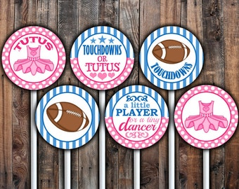 Touchdowns or Tutus cupcake toppers or gift tag printable.  Instant download.