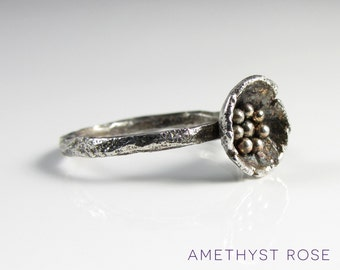 Wild Flower ~ Silver stacking ring with flower ~ Handmade rustic ring ~  Flower ring ~ Organic ring ~ Sterling Silver 925