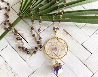 New! // Beaded Amethyst Dream Catcher Necklace