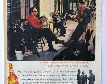 1956 Early Times Bourbon Whisky Magazine Ad Art - Plus Cool Sunbeam Iron Ad