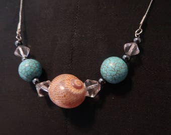 Real seashell necklace hand made with turquoise and cristals