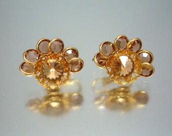Amber Bezel Set Earrings Vintage GORgeous